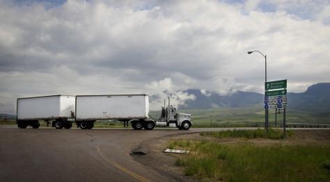 Junction Double Trailer Highway Semi Truck Truck